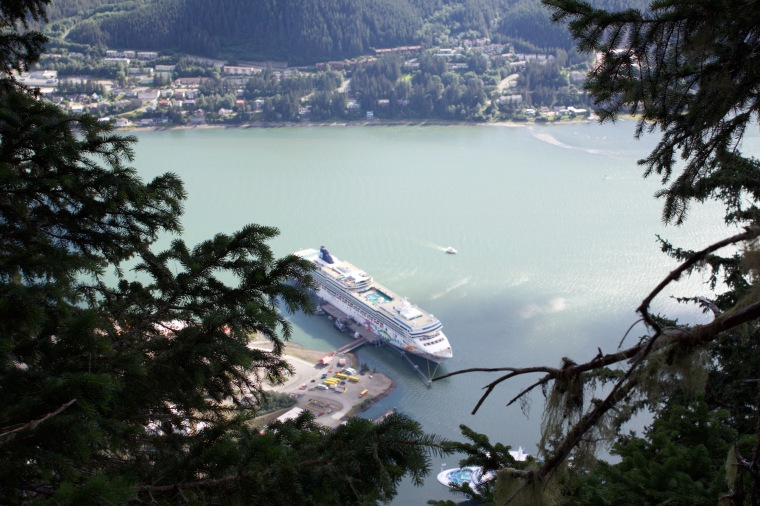 View of the NCL Pearl from Mt Roberts